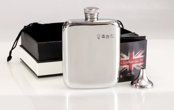 DUP01-Personalised 4oz Sheffield Pewter Hip Flask with Classic Design - Can Be Engraved