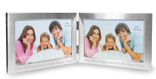 "Personalised 6""x4"" Double Photo Frame With Brushed Finish - Engraved With Your Message"