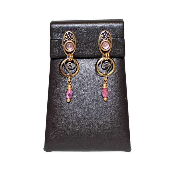 Matte Gold and Fuchsia Earrings