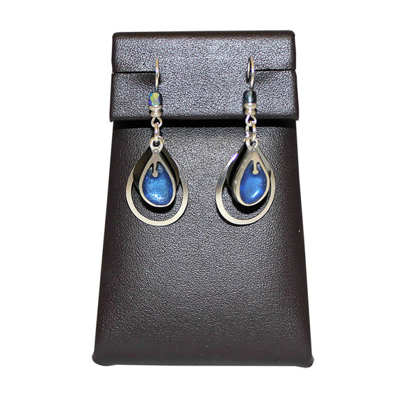 Matte Silver and Blue Earrings