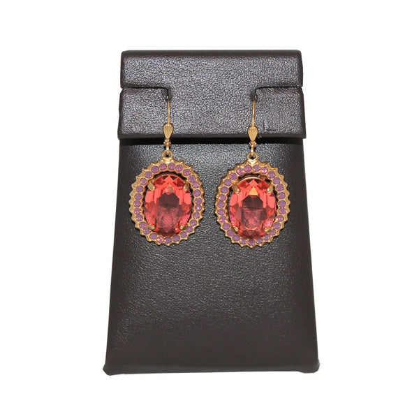 Stone Boarder Earrings in Peach