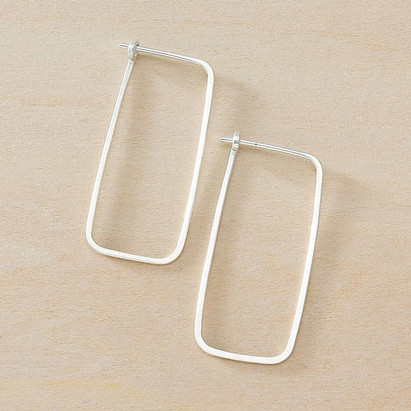 Minimal Hoop Rectangle Earrings