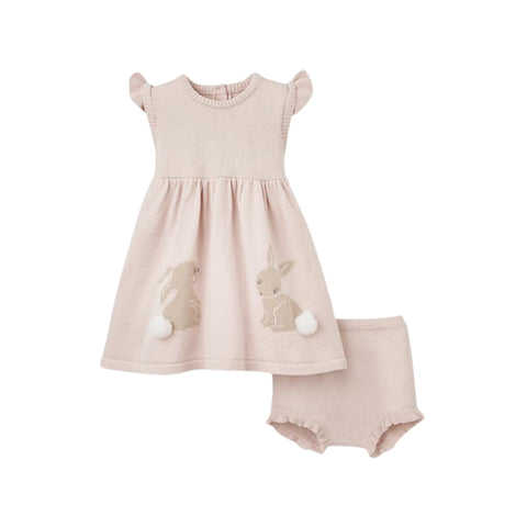 Bunny Flutter Sleeve Knit Baby Dress