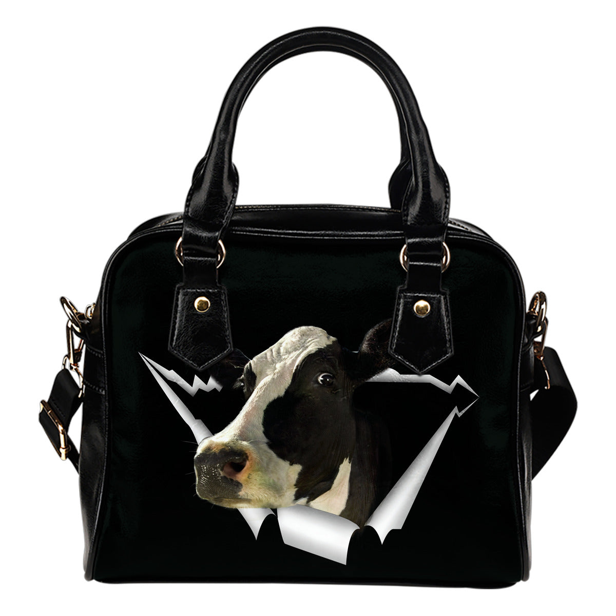 COW HOLE SHOULDER HANDBAG