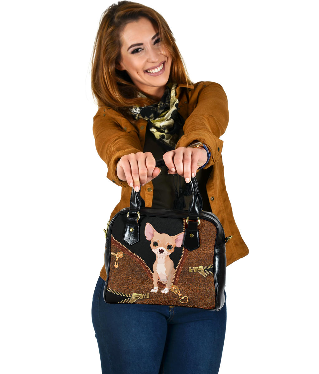 Chihuahua Brown Leather Shoulder Handbag