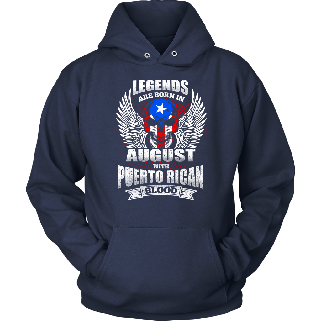 Legends Are Born In August With Puerto Rican Blood T Shirt