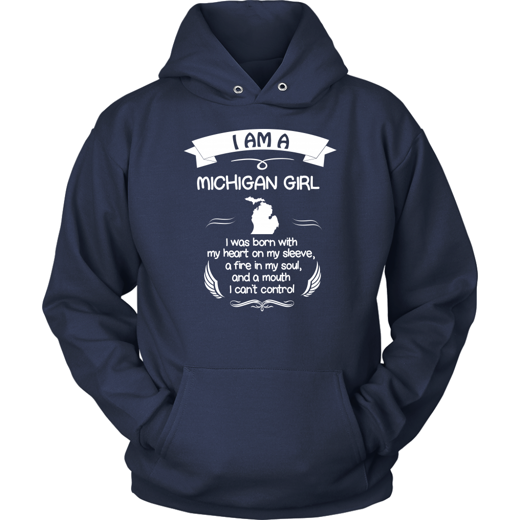 I Am A Michigan Girl With My Heart On My Sleeve T-Shirt