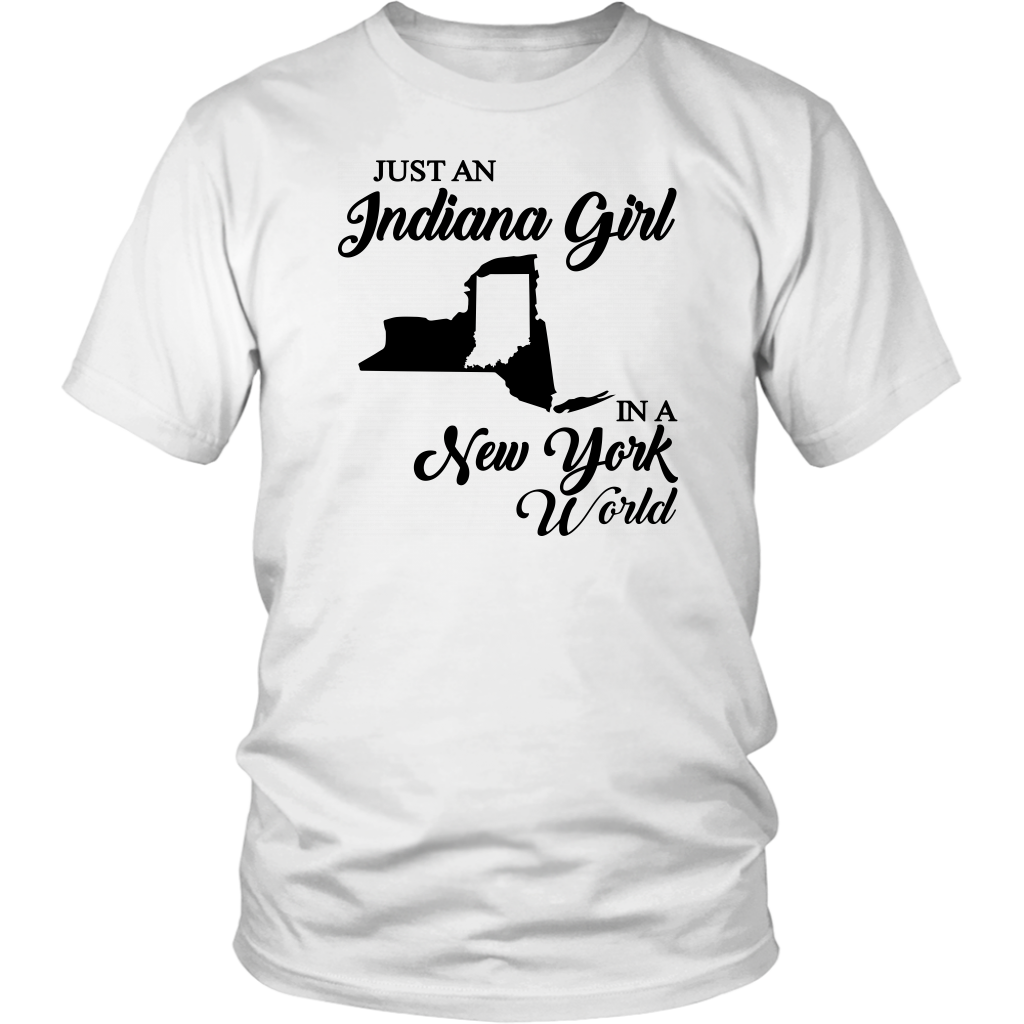 Just An Indiana Girl In A New York World V-Neck T- Shirt