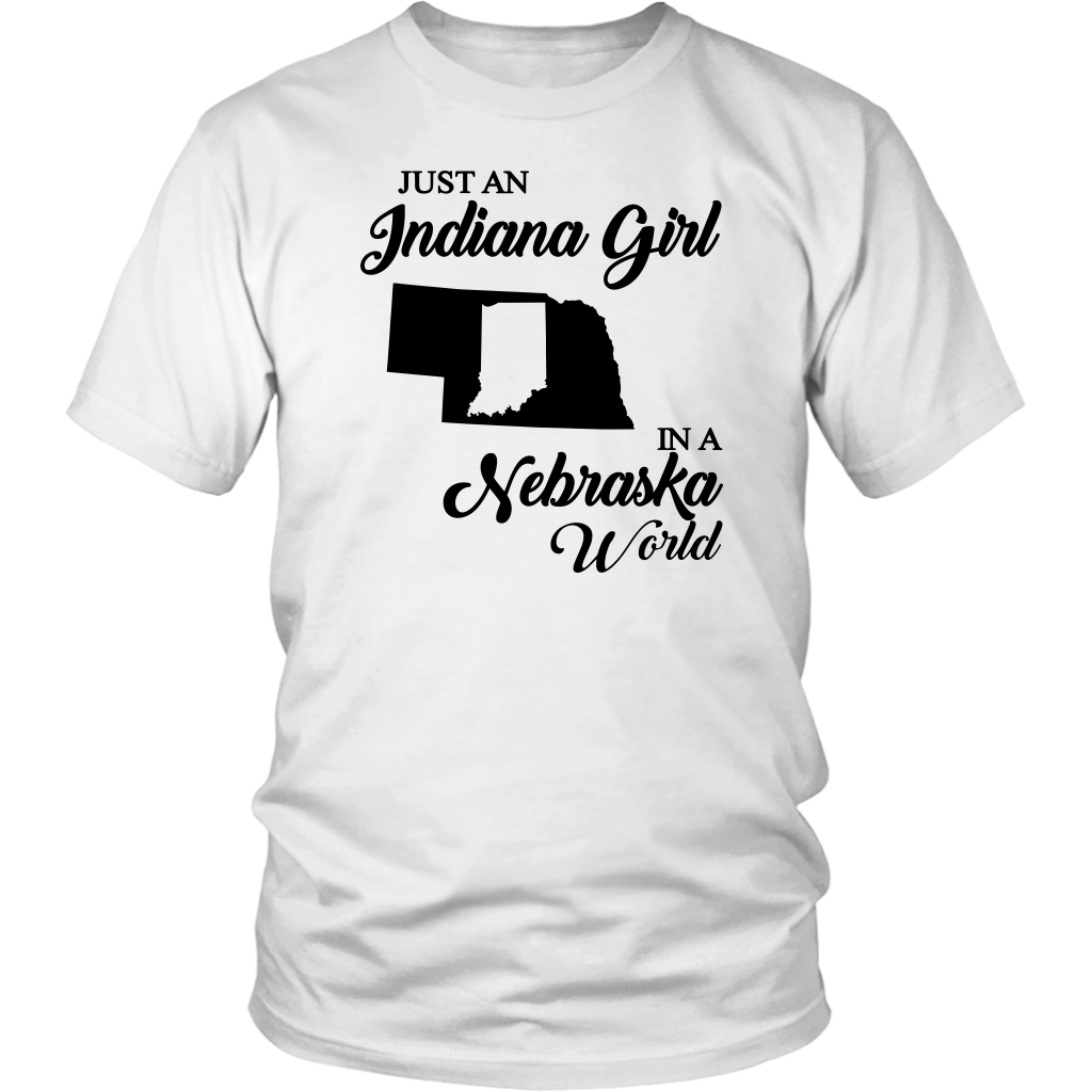 Just An Indiana Girl In A Nebraska World V-Neck T- Shirt