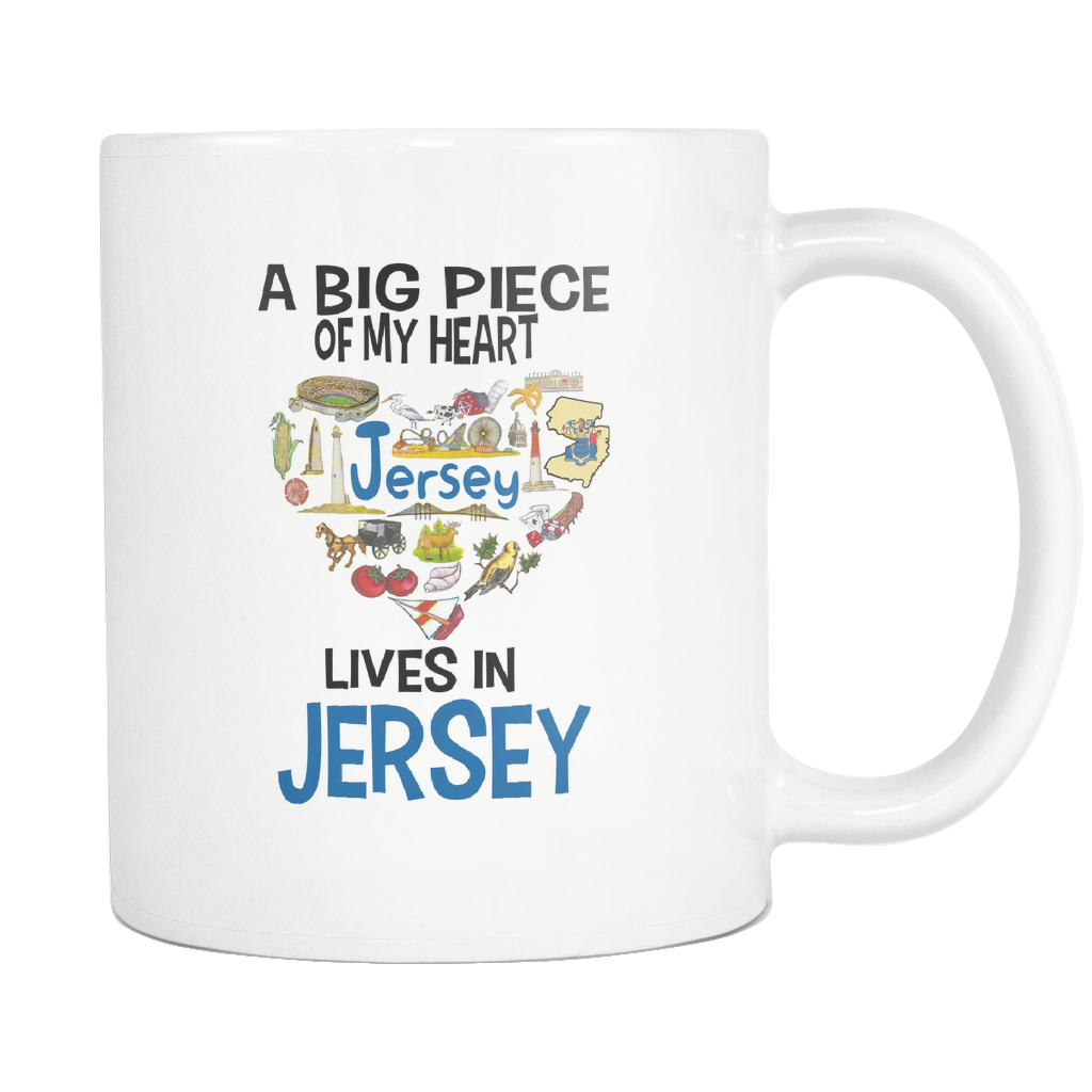 A Big Piece Of My Heart Lives In Jersey Mug - Drinkware Teezalo LLC