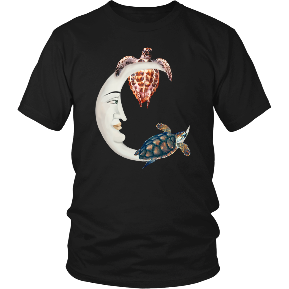 Moon With Sea Turtle T-Shirt - T-shirt Teezalo LLC
