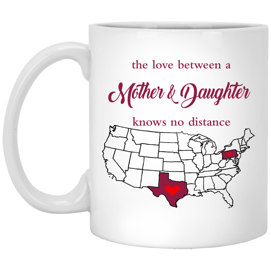 Pennsylvania Texas Mother And Daughter Mug