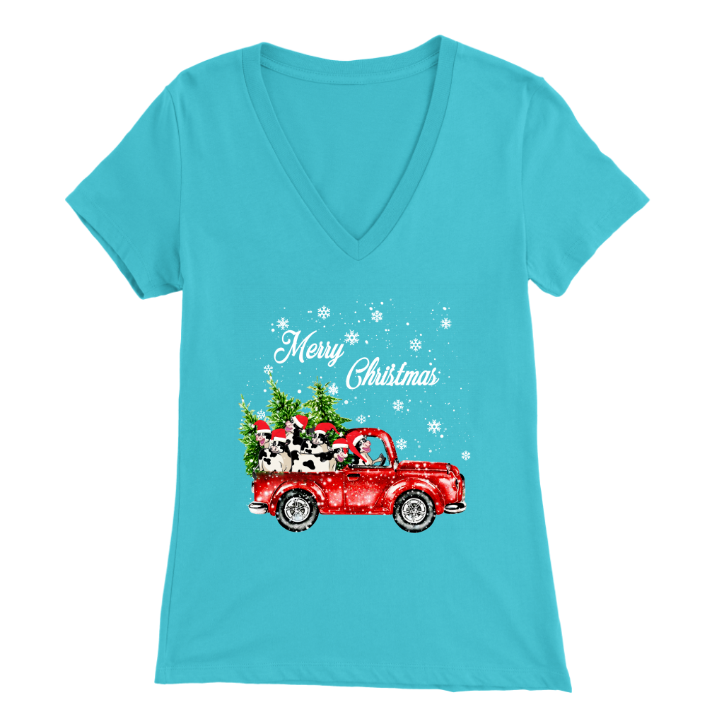 Merry Christmas Car Cow T-Shirt