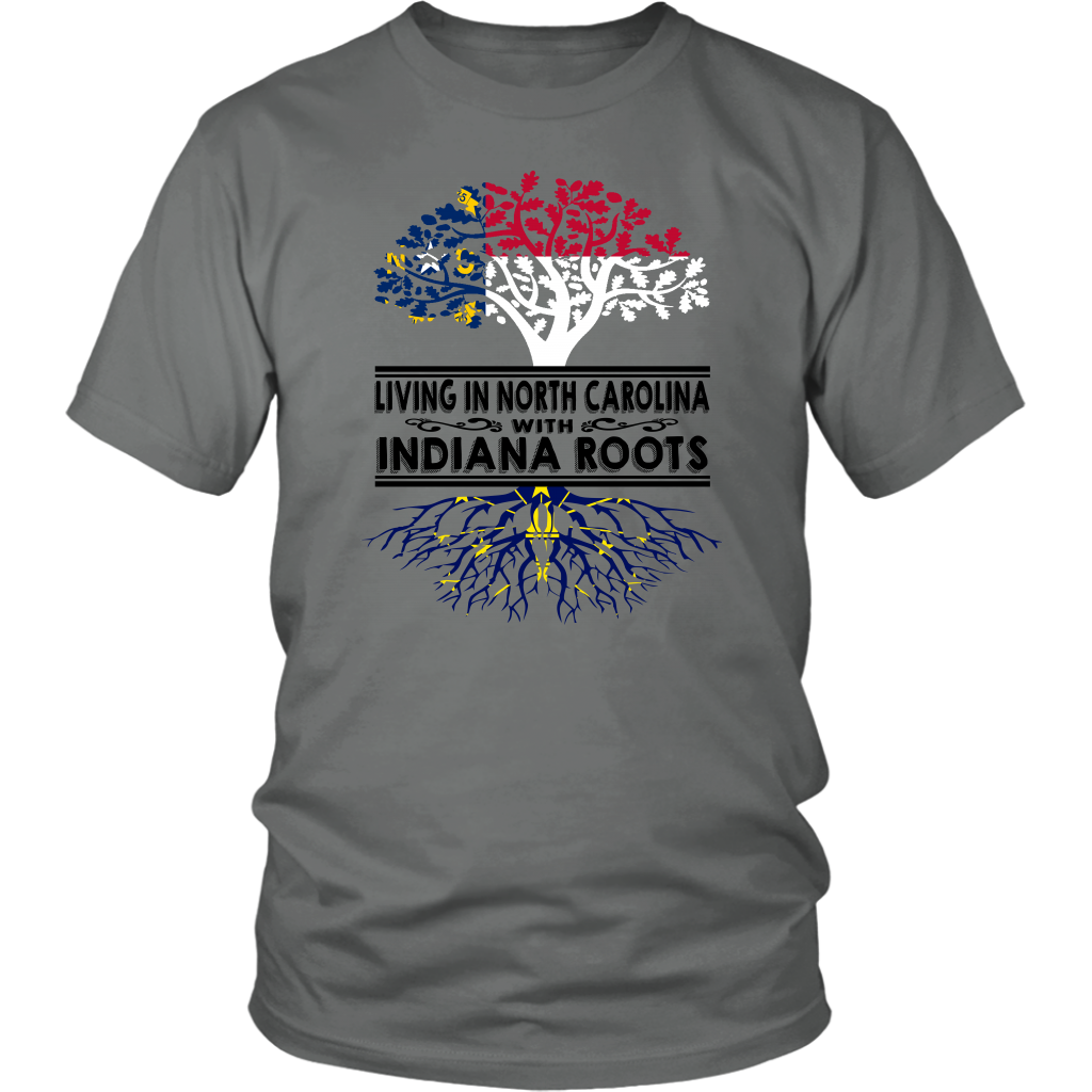 Living In North Carolina With Indiana Roots T- Shirt