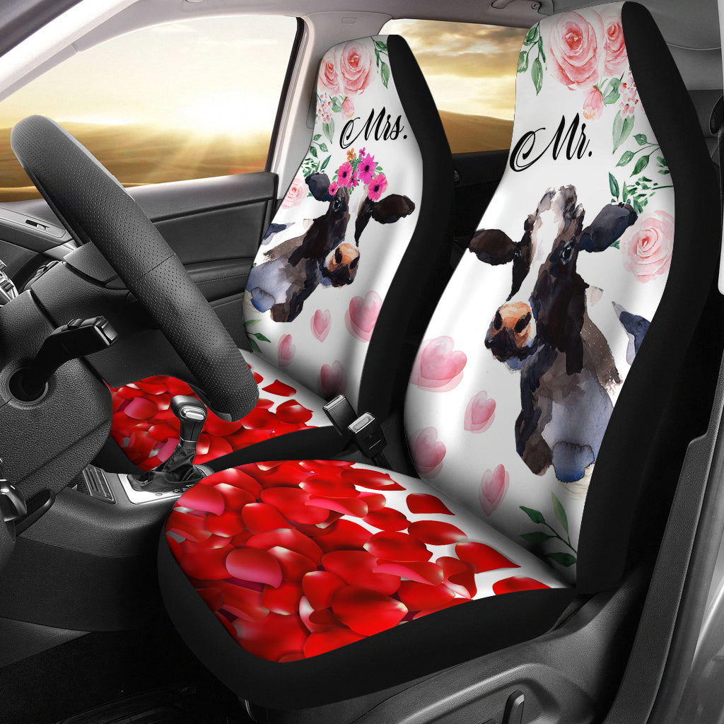 Mr And Mrs Cow Car Seat Cover
