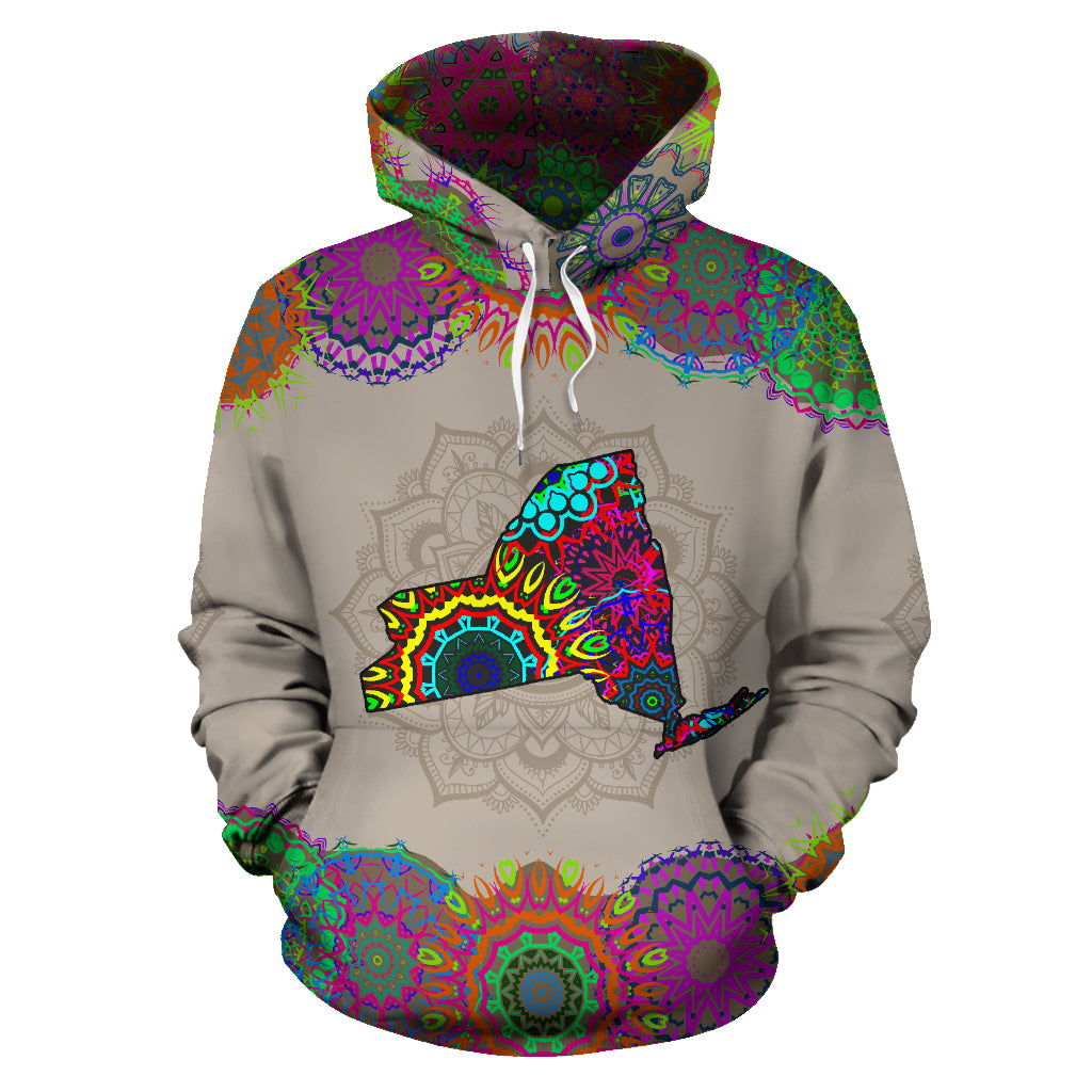 New York Map Mandala All Over Hoodie