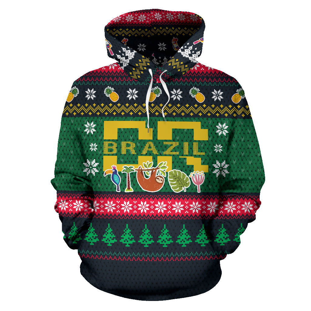 Brazil Christmas All Over Hoodie