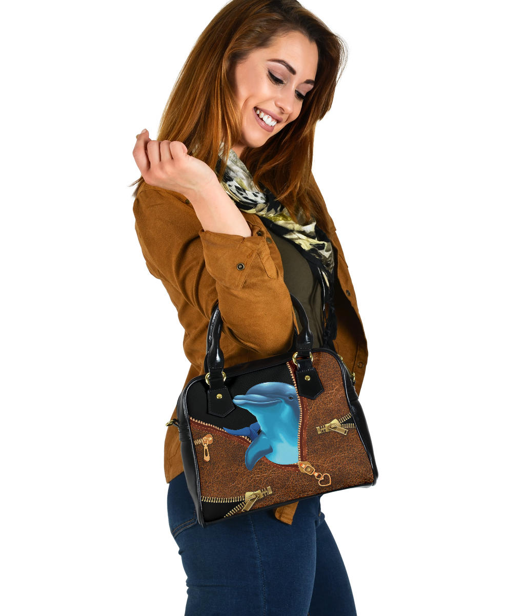 Dolphin Brown Leather Shoulder Handbag
