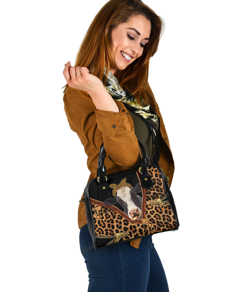 Leopard Cow Shoulder Handbag
