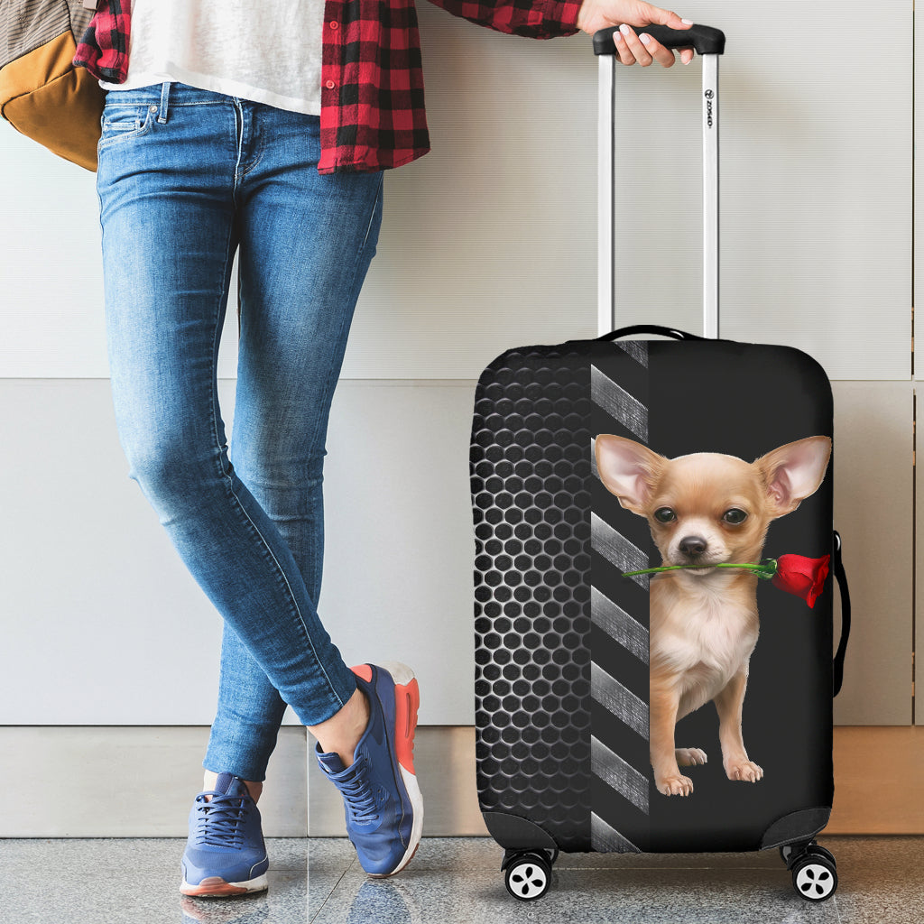 Chihuahua And Rose Luggage Covers