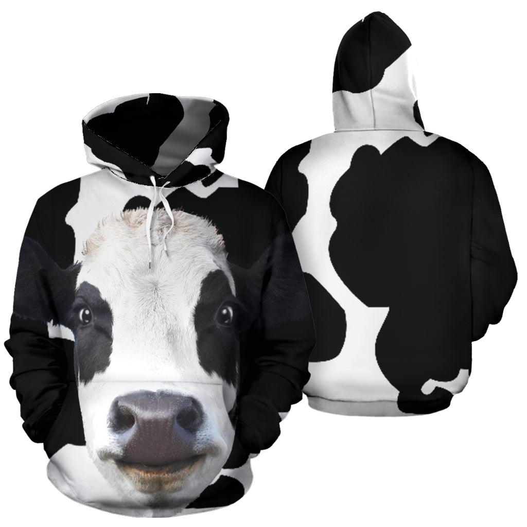 Cow All Over Face Hoodie -  Teezalo LLC