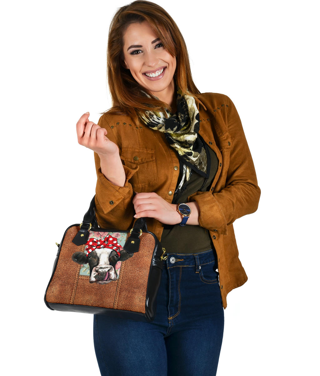 Leather Cow Shoulder Handbag