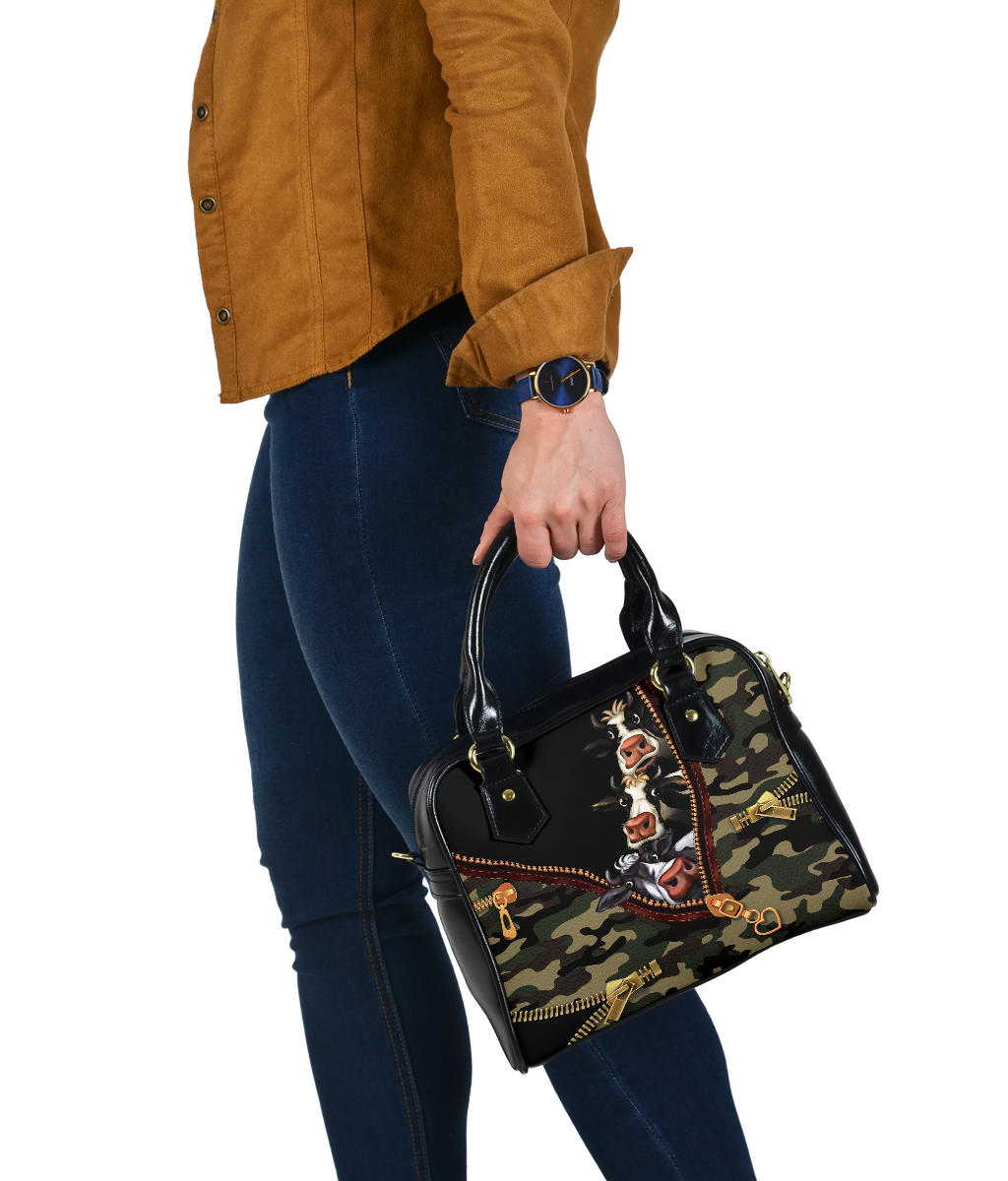 Army Camouflage Cow Shoulder Handbag