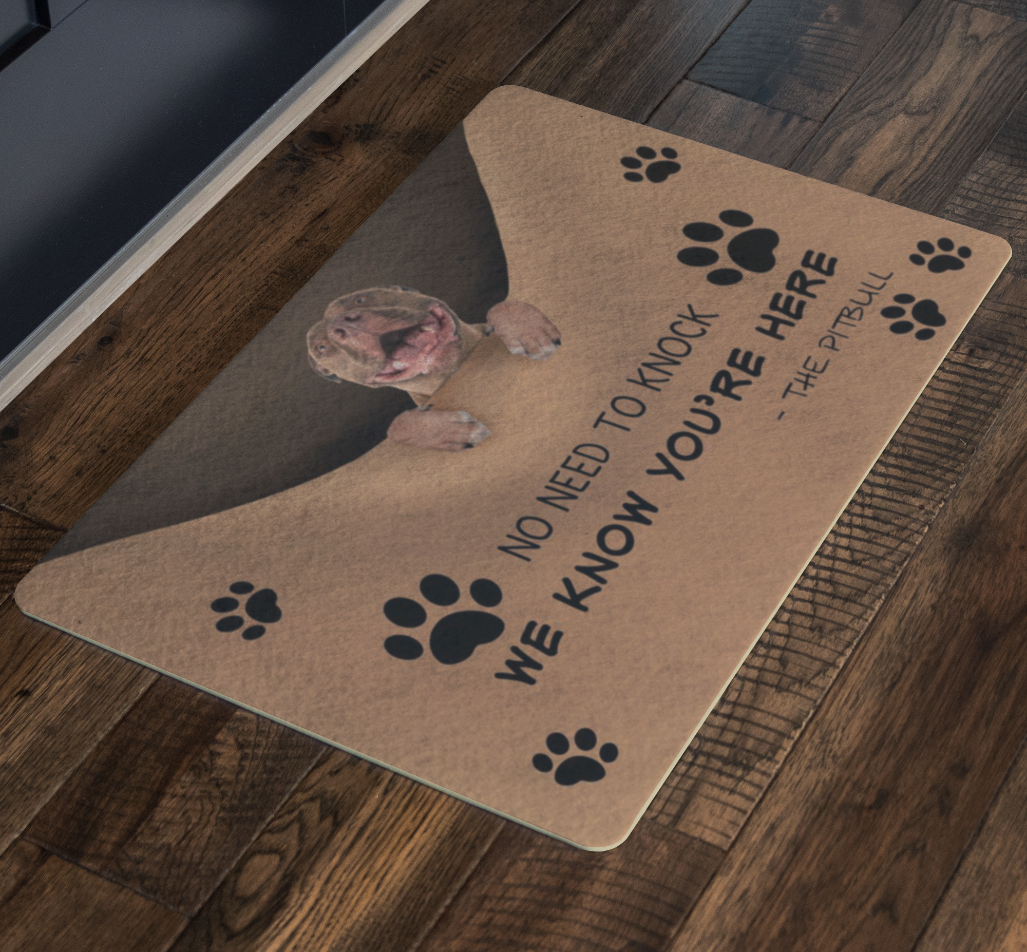 We Know You're Here The Pitbull Doormat