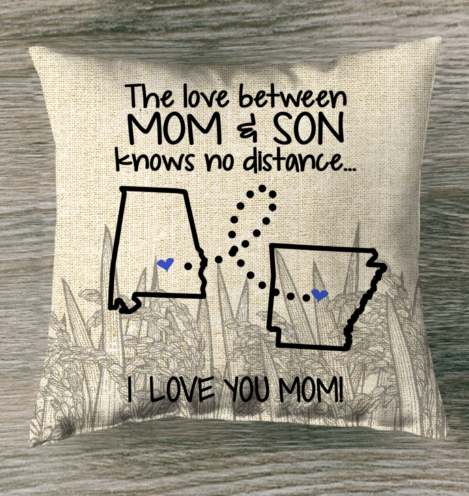 Arkansas Alabama The Love Between Mom And Son Pillow