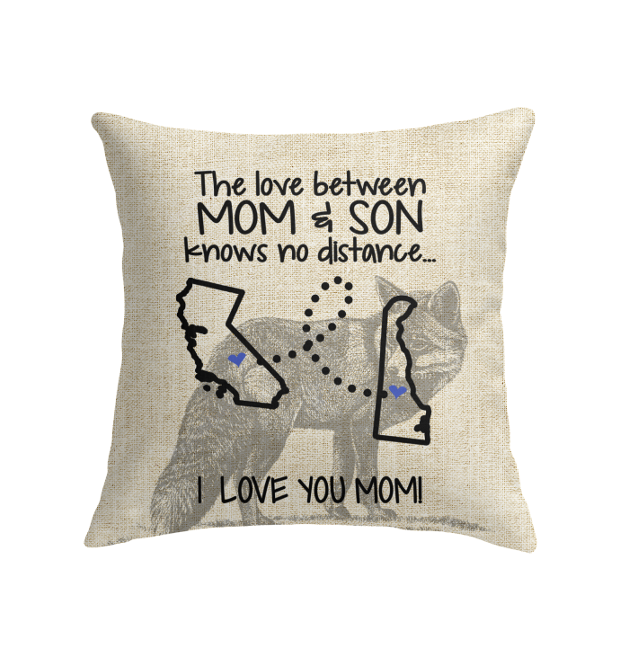 Delaware California The Love Between Mom And Son Pillow