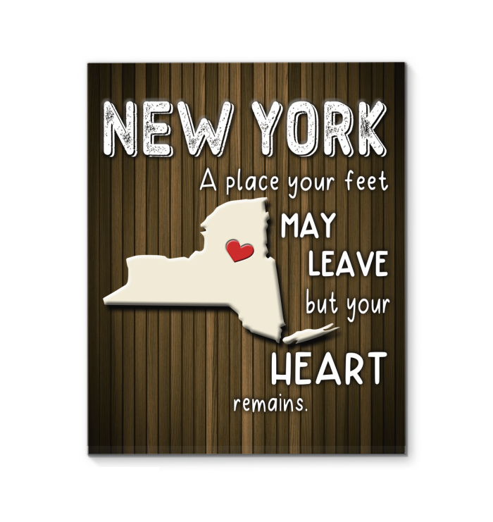 New York Wall Art A Place Your Feet May Leave But Your Heart Remains Canvas