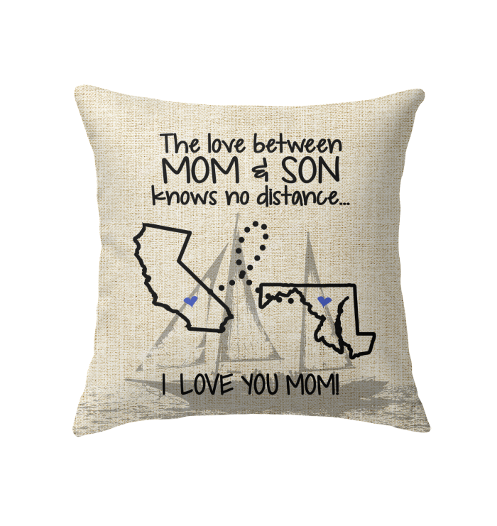 Maryland California The Love Mom And Son Pillow