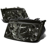 Fit 1999-2005 VW Jetta Mk4 Pair Smoked Housing Clear Lens Headlight w/Fog Lamp DPTMOTORSPORT