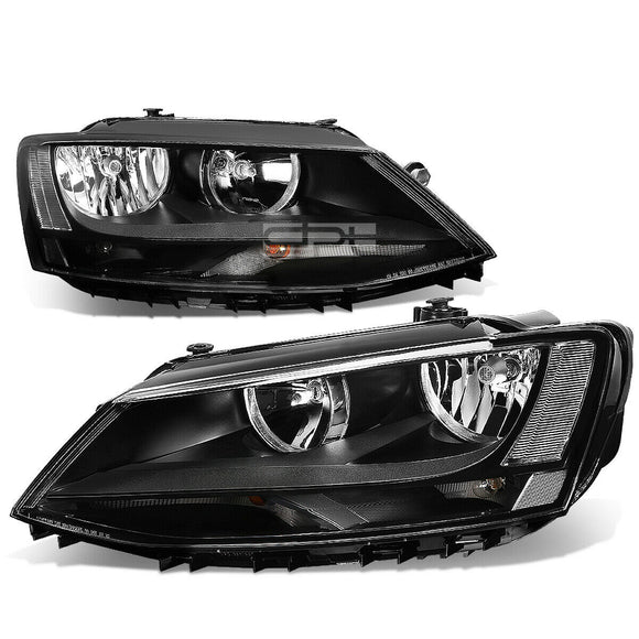 Fit 2011-2018 VW Jetta Mk6 Pair Black Housing Clear Corner Headlight/Lamp Set DPTMOTORSPORT