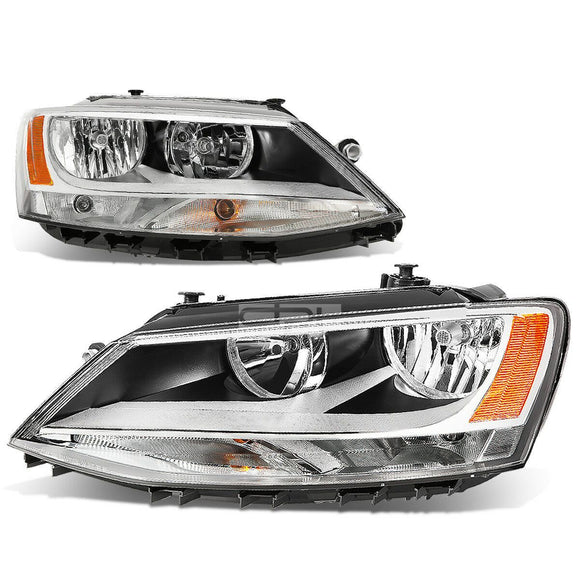 Fit 2011-2018 VW Jetta Mk6 Pair Chrome Housing Amber Corner Headlight/Lamp Set DPTMOTORSPORT
