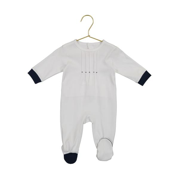 Spencer White Pleated Footie