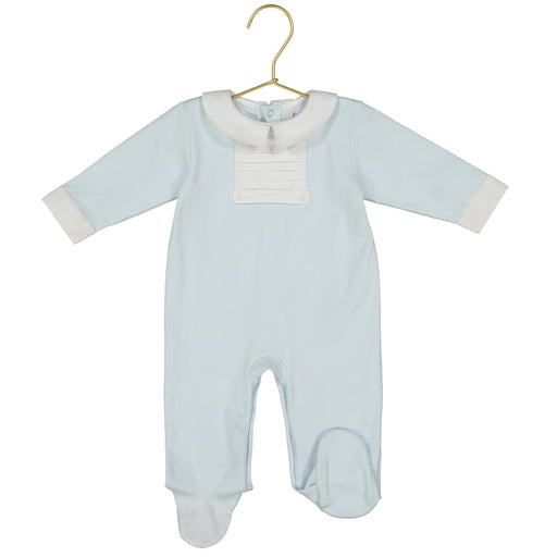 Simon Pima Cotton Pleated Blue Footie