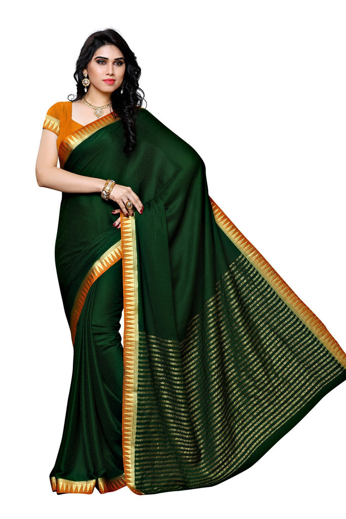 Mimosa crepe saree kanjivaram style color bottle green for Show me the color green