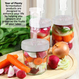 Year of Plenty BPA-Free Fermentation Lids (Set of 4) for Making Sauerkraut in Wide Mouth Mason Jars, Includes Instructions Recipe and Gift Box for Storage...