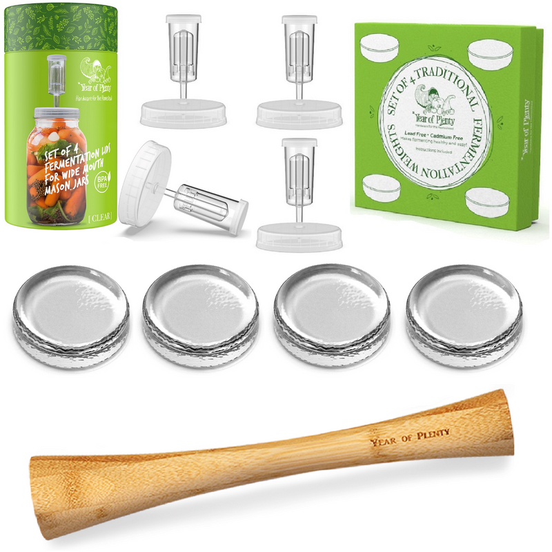 Fermentation Kit, Includes 4 Fermenting Lids (White or Clear Options), 4 Traditional Fermentation Weights, 1 12-inch Cabbage Tamper