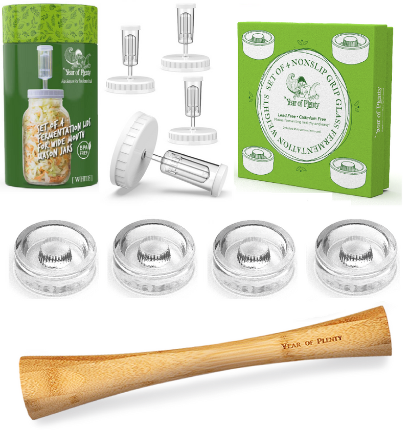 Complete Fermentation Kit | Includes 4 Fermenting Lids (White or Clear Options), 4 NonSlip Grip Fermentation Weights, 1 12-inch Cabbage Tamper