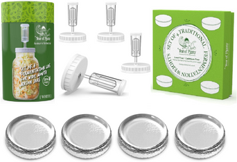 Fermenting Kit - Set of 4 Fermentation Weights and 4 Airlock Lids for Making Sauerkraut in Wide Mouth Mason Jars (Clear or White Options)...