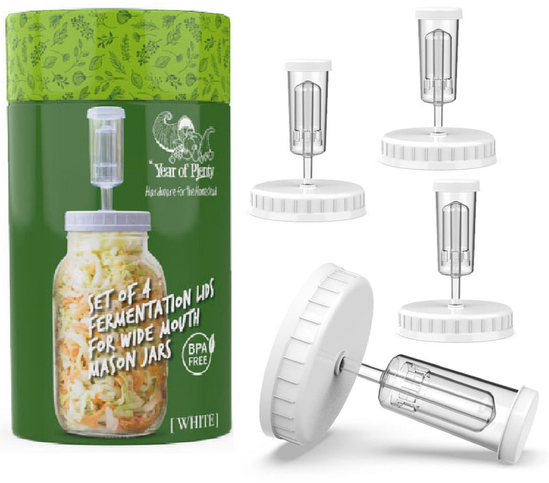 Fermenting Kit - Set of 4 NonSlip Grip Fermentation Weights and 4 Airlock Lids for Making Sauerkraut in Wide Mouth Mason Jars (Clear or White Options for Lids)...
