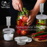 Year of Plenty Fermenting Kit - Set of 4 Fermentation Weights and 4 Airlock Lids for Making Sauerkraut in Wide Mouth Mason Jars (Clear or White Options)...
