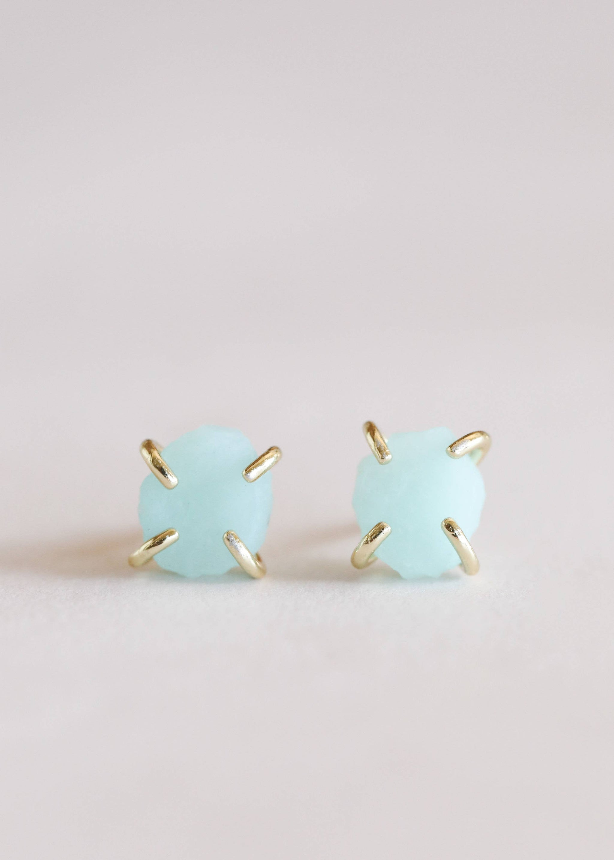 Amazonite Gemstone Prong Earrings - The Lake and Company