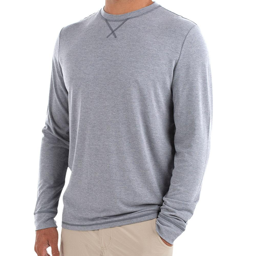 Men's Bamboo Flex Long Sleeve - Heather Slate Blue - The Lake and Company