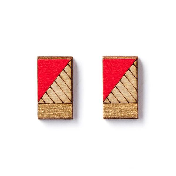 LInes Stud Earrings - Red - The Lake and Company
