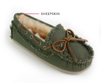 Women's Canvas Sheepskin Slipper - The Lake and Company