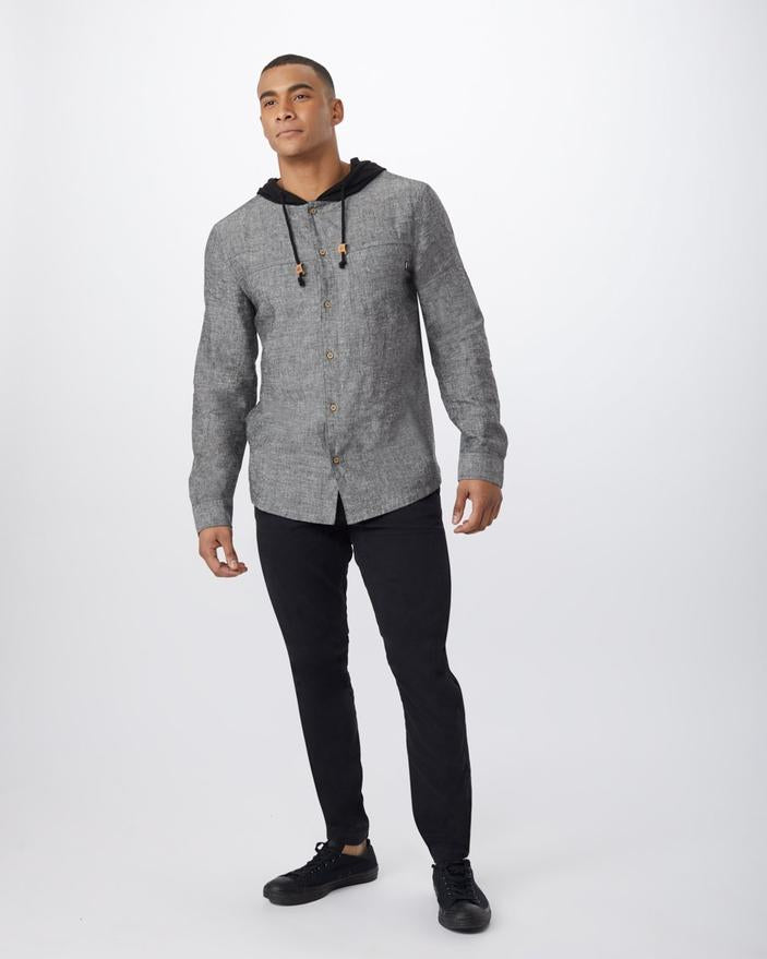 Men's Hemp Mancos Button Up Hoodie - Black - The Lake and Company