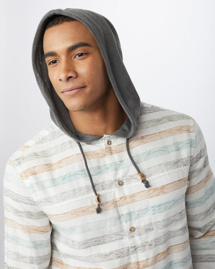 Men's Hemp Mancos Button Up Hoodie - Heathered White - The Lake and Company